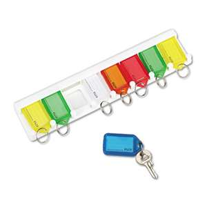 PM COMPANY Color-Coded Key Tag Rack, 8-Key, Plastic, White, 10 1/2 x 1/4 x 2 1/2