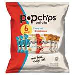 POPCHIPS Potato Chips, BBQ/Sea Salt Flavor, .8 oz Bag, 6/Pack