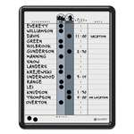 QUARTET MFG. Employee In/Out Board, Porcelain, 11 x 14, Gray, Black Plastic Frame