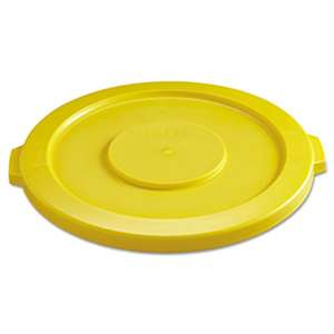 "RUBBERMAID COMMERCIAL PROD. Round Flat Top Lid, for 32-Gallon Round Brute Containers, 22 1/4"", dia., Yellow"