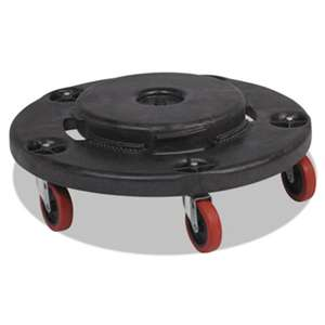 Rubbermaid Commercial 264043BLA Brute Quiet Dolly, 250lb Capacity, 18 1/4 dia. x 6 5/8h, Black