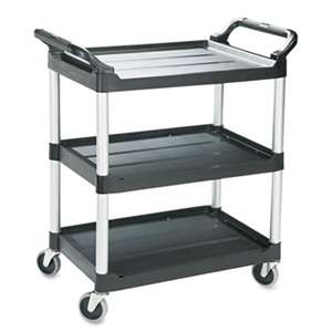 RUBBERMAID COMMERCIAL PROD. Economy Plastic Cart, Three-Shelf, 18-5/8w x 33-5/8d x 37-3/4h, Black
