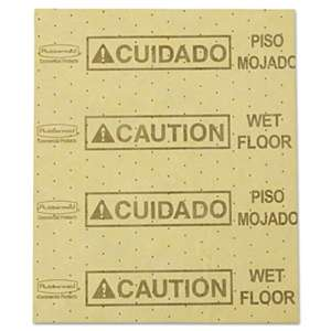"RUBBERMAID COMMERCIAL PROD. Over-the-Spill Pad, ""Caution Wet Floor"", Yellow, 16 1/2"" x 20"", 25 Sheets/Pad"