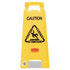 "RUBBERMAID COMMERCIAL PROD. Multilingual ""Caution"" Floor Sign, Plastic, 11 x 1 1/2 x 26, Bright Yellow"