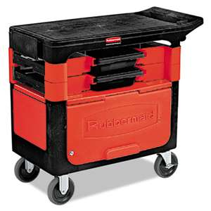 RUBBERMAID COMMERCIAL PROD. Locking Trades Cart, 330-lb Cap, Two-Shelf, 19-1/4w x 38d x 33-3/8h, Black