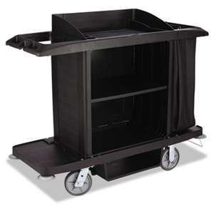 RUBBERMAID COMMERCIAL PROD. Housekeeping Cart, 22w x 60d x 50h, Black