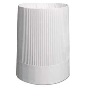 ROYAL PAPER PRODUCTS Stirling Fluted Chef's Hats, Paper, White, Adjustable, 10 in Tall, 12/Carton
