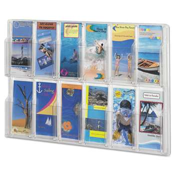 SAFCO PRODUCTS Reveal Clear Literature Displays, 12 Compartments, 30 w x 2d x 20 1/4h, Clear