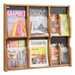 SAFCO PRODUCTS Expose Adj Magazine/Pamphlet Six Pocket Display, 29-3/4w x 26-1/4h, Medium Oak