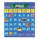 SCHOLASTIC INC. Monthly Calendar Pocket Chart, 25 1/2 x 10 x 0.13, Blue/Clear