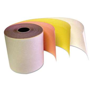 "TST/IMPRESO, INC. Carbonless Receipt Rolls, 3-Ply, 3"" x 67 ft, White/Canary/Pink, 60/Carton"