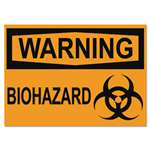 Headline Sign 5498 OSHA Safety Signs, WARNING BIOHAZARD, Orange/Black, 10 x 14