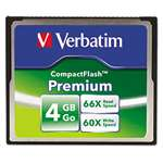 VERBATIM CORPORATION Premium CompactFlash Memory Card, 4GB, 66X Read Speed/60X Write Speed