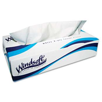 Windsoft 2430 Facial Tissue in Pop-Up Box, 100/Box, 6 Boxes/Pack