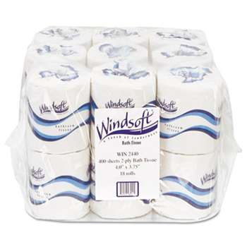 Windsoft 2440 Embossed Bath Tissue, 2-Ply, 400 Sheets/Roll, 18 Rolls/Carton