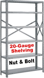 OPEN STEEL SHELVING 20-GAUGE NUT & BOLT, 5-SHELF UNIT