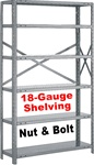 OPEN STEEL SHELVING EXTRA HEAVY-DUTY 18-GAUGE NUT & BOLT, 5-SHELF UNIT
