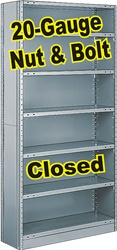 CLOSED STEEL SHELVING 20-GAUGE NUT & BOLT, 5-SHELF UNIT