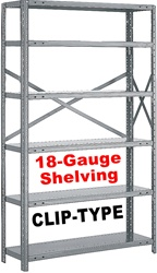 "OPEN STEEL SHELVING 18-GAUGE ""CLIP-TYPE"", 5-SHELF UNIT"