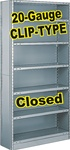 CLOSED STEEL SHELVING 20-GAUGE CLIP-TYPE, 5-SHELF UNIT