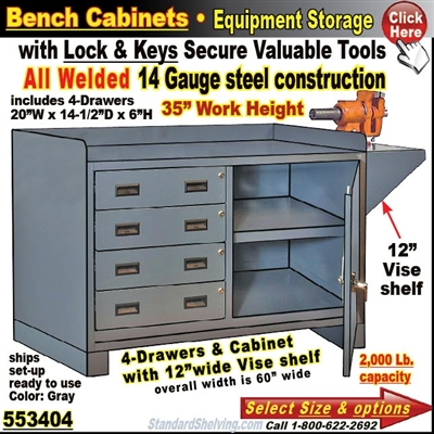 Heavy-Duty 4-Drawer Bench Storage Cabinet
