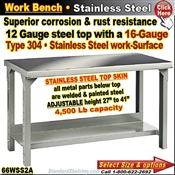 66WSS2A / Stainless Steel Work Benches