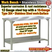 66WSS2F / Stainless Steel Work Benches