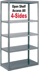 STURDY-SHELF OPEN STEEL SHELVING 20-GAUGE CLIP-TYPE, 5-SHELF UNIT
