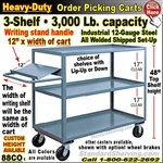 88CO / 3-Shelf Order Picking Truck with writing shelf