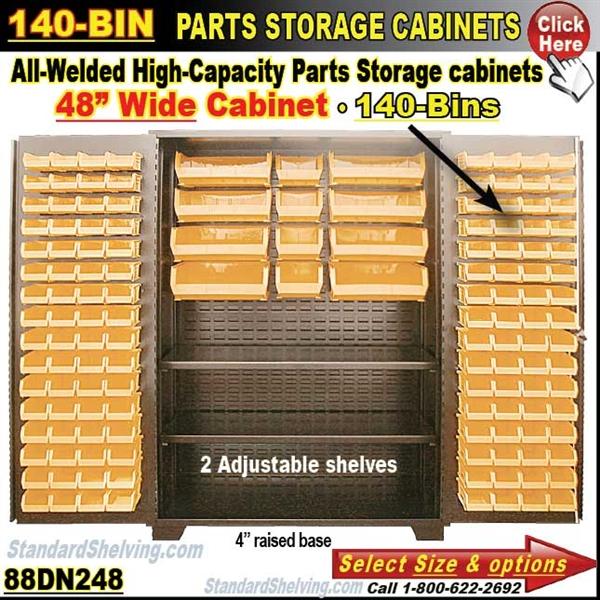 88DN248 / 140-Bin Heavy-Duty Storage Cabinet  sc 1 st  Warehouse Shelving Systems & 140 Bin Storage Cabinet
