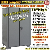 88DS / Heavy-Duty Storage Cabinets, 1800 Lb. Cap.per shelf