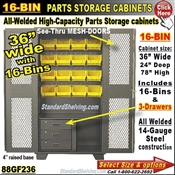88GF236 / 16-Bin Heavy-Duty Storage Cabinet