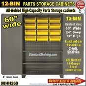 88HH260 / 12-Bin Heavy-Duty Storage Cabinet ...  sc 1 st  Warehouse Shelving Systems & 16-Bin Heavy-Duty Storage Bin Cabinet