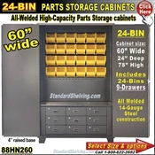 88HN260 / 24-Bin Heavy-Duty Storage Cabinet