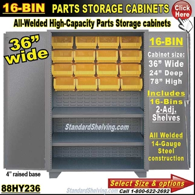 88HY236 / 16-Bin Heavy-Duty Storage Cabinet