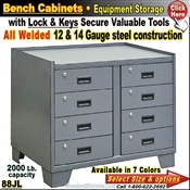 "88JL / Heavy-Duty 36""Wide 8-DRAWER Bench Storage Cabinet"