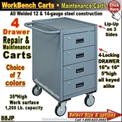 88JP / 4-Drawer Narrow Maintenance Carts