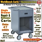 88JT / 1-Drawer Open Cabinet Narrow Maintenance Carts