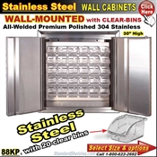 88KP / Wall Mount Stainless Steel Storage Cabinets with bins