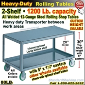 88LB / Heavy Duty 2-Shelf Rolling Table