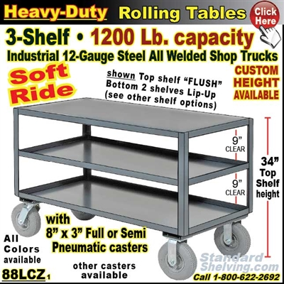 88LCZ / Heavy Duty 3-Shelf Soft-Ride Cart