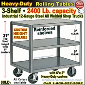 88LD / Extra Heavy Duty 3-Shelf Rolling Table