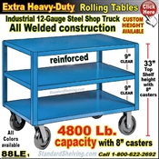 88LE / Extra Heavy Duty 3-Shelf Rolling Table