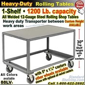88LV / Heavy Duty 1-Shelf Rolling Table