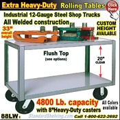 88LW / Extra Heavy Duty 2-Shelf Rolling Table