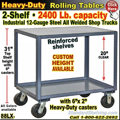 88LX / Extra Heavy Duty 2-Shelf Rolling Table