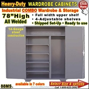 88MS / Heavy-Duty Combo Wardrobe Storage Cabinets