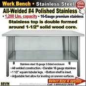 88VN / Stainless Steel Work Benches