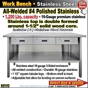 88VO / Stainless Steel Work Benches