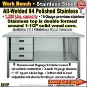 88VP / Stainless Steel Work Benches